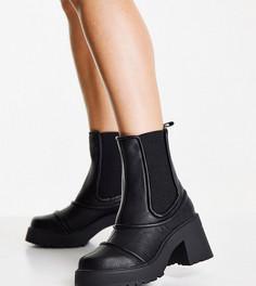 Массивные черные ботинки на блочном каблуке для широкой стопы ASOS DESIGN Wide Fit Reason-Черный цвет