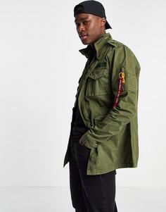 Темно-зеленая куртка стандартного кроя из хлопковой саржи в утилитарном стиле Alpha Industries Huntington-Зеленый цвет