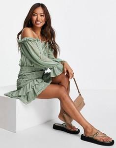 Присборенное зеленое платье мини из ткани добби со спущенными плечами ASOS DESIGN-Зеленый цвет