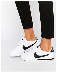 Белые кожаные кроссовки Nike Cortez-Белый