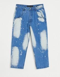 Широкие джинсы с эффектом отбеливания от комплекта LDN DNM-Голубой