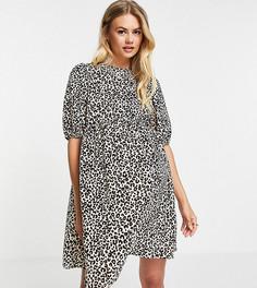 Свободное платье мини для беременных с короткими рукавами и звериным принтом ASOS DESIGN Maternity-Разноцветный