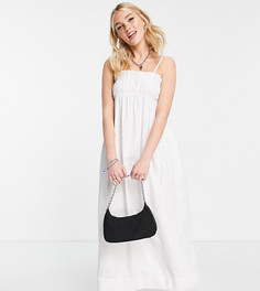 Белое присборенное платье миди на бретелях Stradivarius-Белый