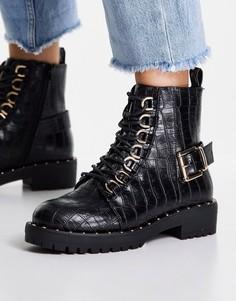 Черные походные ботинки на шнуровке с имитацией кожи крокодила ASOS DESIGN Aura-Черный цвет