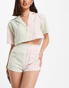Комплект из укороченной рубашки и шорт из комбинированного материала в клетку зеленого и розового цветов Lost Ink-Разноцветный