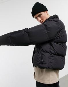 Черная дутая куртка ASOS DESIGN-Черный цвет