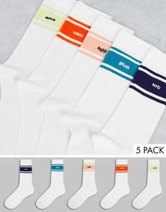 Набор из 5 пар белых носков River Island-Белый