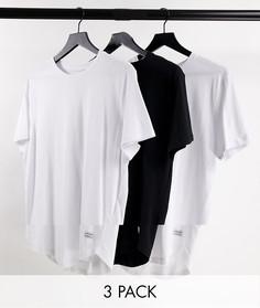 Набор из 3 удлиненных футболок белого, белого и черного цвета с асимметричным краем Jack & Jones Originals-Разноцветный