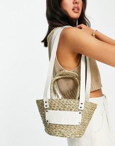 Пляжная соломенная сумка бежевого цвета через плечо Nunoo-Светло-бежевый