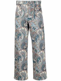 ETRO брюки прямого кроя с принтом пейсли