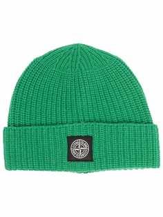 Stone Island шапка бини с нашивкой-логотипом