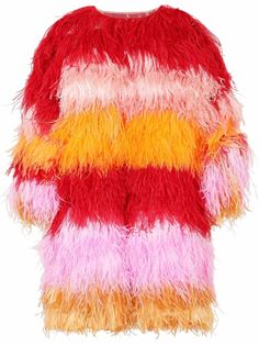 Dolce & Gabbana пальто в полоску с перьями