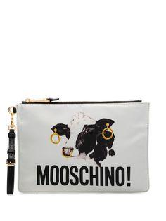 Moschino клатч на молнии с принтом