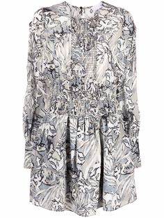 IRO шелковое платье с длинными рукавами и графичным принтом