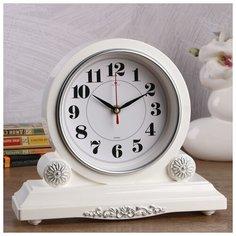 """Часы настольные Рубин """"Берта"""", 30*26 см, корпус белый, с серебром"""