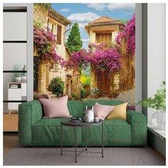 Фотообои Старый город в Провансе 200х270 (ШхВ) бежевый/изумрудно-зеленый/светло-синий/сиреневый/светло-коричневый