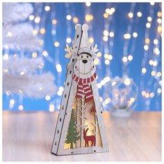 """Фигура деревянная Luazon Lighting """"Елка Олень в шарфе"""", (от батареек) 5 LED, белая (3667594)"""