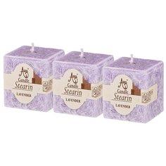 Набор ароматических стеариновых свечей из 3шт. Lavender диаметр 4,5 см высота 5 см KSG-348-798 Adpal