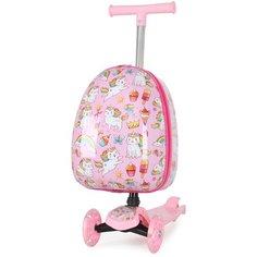 """Детский складной чемодан-самокат Magio """"Коты"""" с 3 светящимися колесами, пластик"""