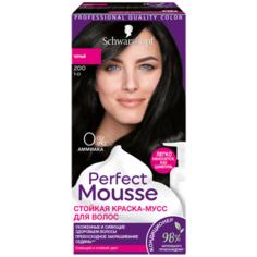 Schwarzkopf Perfect Mousse Стойкая краска-мусс для волос, 200 черный