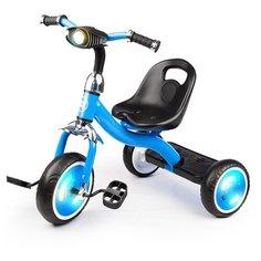 Велосипед детский трехколесный, с музыкой и светящимися колесами, с фонариком, голубой Safari