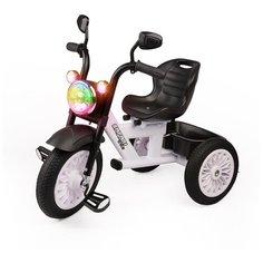 Велосипед детский трехколесный со светом и звуком, резиновые безвоздушные колеса, белый Safari