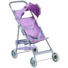 Детская игрушечная прогулочная коляска-трость Buggy Boom для кукол Mixy 8008 с козырьком и корзинкой