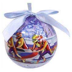 Елочное украшение шар  Бобслей, 100 мм, Незабудка 020350