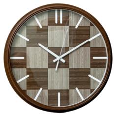 Часы настенные круглые Home art 40х40х4,5см серый, коричневый Olaff