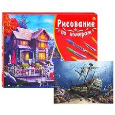 Холст с красками по номерам Рыжий кот Палитра, 40*50 см, Затонувший корабль (Х-3100)