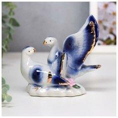 """Сувенир керамика """"Воркующие голуби"""" синие 10,5х12х7,5 см 5240669 Сима ленд"""
