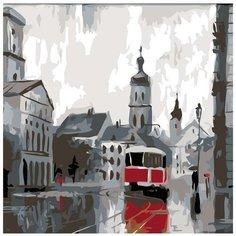 Питерский трамвай Раскраска картина по номерам на холсте