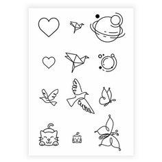 Переводные мини тату - Микс контур/ временные тату/ временные татуировки Mimitoo