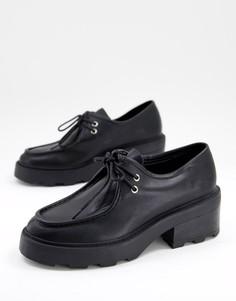 Черные туфли на плоской массивной подошве со шнуровкой ASOS DESIGN Minny-Черный цвет