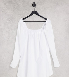 Белое расклешенное платье мини с квадратным вырезом и объемными рукавами ASYOU-Белый