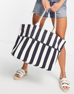 Пляжная сумка-тот в полоску темно-синего и кремового цвета Accessorize-Голубой