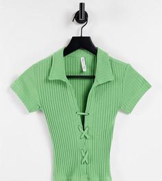 Шалфейно-зеленый топ-поло в рубчик со шнуровкой ASYOU-Зеленый цвет