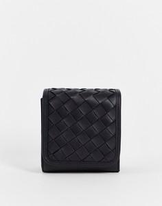 Черная квадратная сумка через плечо из искусственной кожи с плетеным дизайном ASOS DESIGN-Черный цвет
