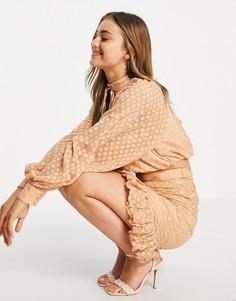 Присборенная облегающая юбка с акцентной сквозной застежкой на пуговицах и оборкой по низу от комплекта ASOS DESIGN-Розовый цвет