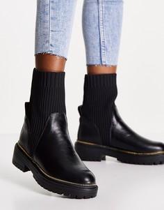 Черные массивные ботинки на каблуке с протекторной подошвой и вставкой в виде носка River Island-Черный цвет