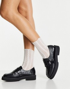 Черные туфли-монки с отделкой под крокодиловую кожу на плоской подошве ASOS DESIGN Macaroon-Черный цвет