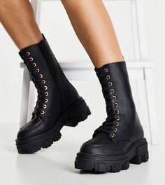 Черные ботинки челси для широкой стопы на массивной подошве Truffle Collection-Черный цвет