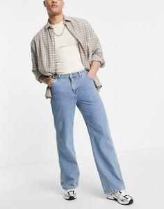 Синие свободные джинсы с широкой кромкой ASOS DESIGN-Голубой