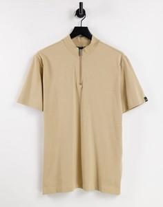 Бежевая футболка из пике с высоким воротом и короткой молнией Only & Sons-Светло-бежевый цвет