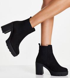 Черные ботинки челси для широкой стопы на каблуке ASOS DESIGN Wide Fit Eve-Черный цвет