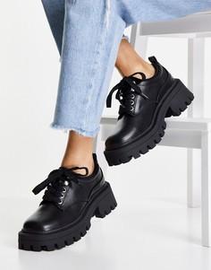 Черные туфли на плоской массивной подошве с квадратным носом ASOS DESIGN Moorgate-Черный цвет