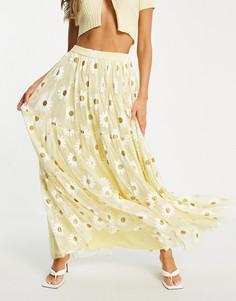 Эксклюзивная ярусная юбка макси из тюля желтого цвета с аппликацией в виде маргариток с блеском Lace & Beads-Желтый
