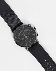 Черные часы с ремешком из искусственной сафьяновой кожи ASOS DESIGN-Черный цвет