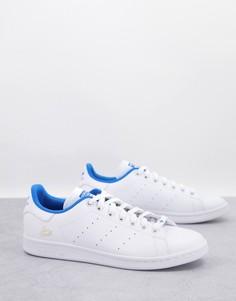 Белые кроссовки с синей отделкой adidas Originals Stan Smith-Белый