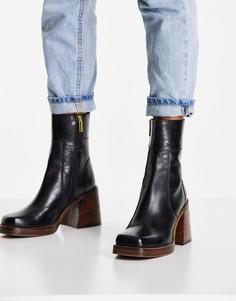 Черные кожаные ботинки на среднем каблуке ASOS DESIGN Region-Черный цвет